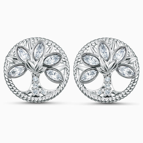 Swarovski Pierced Earrings SYMBOLIC TREE OF LIFE Studs, White, Rhodium -5540301
