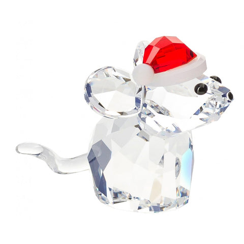 Swarovski Crystal Christmas Figurine MOUSE WITH SANTA'S HAT #5135858
