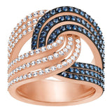Swarovski Clear & Blue Crystals LEMON KNOT RING, Rose gold (Large/58/8)