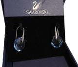Swarovski Light Sapphire Crystal JEWELRY Pierced Earrings GALET Rhodium #5187532