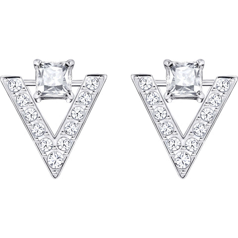 Swarovski Clear Crystal FUNK Pierced Stud Earrings, Rhodium -5241278