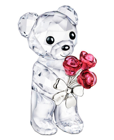 Swarovski Crystal Figurine KRIS BEAR RED ROSES FOR YOU #5268845