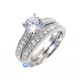 1.25ct Engagement Wedding Set 2 RINGS Signity CZ Pave/Prong Set Sterling Silver