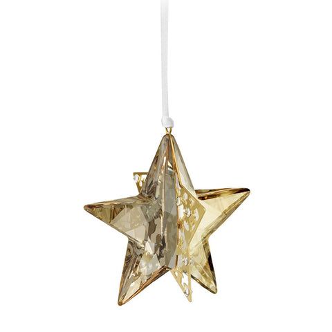 Swarovski Amber Crystal Christmas Ornament STAR GOLDEN SHADOW 3D #1140008