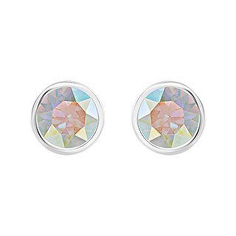 Swarovski Aurora Borealis Crystal Solitaire Studs Pierced Earrings Rhodium #5101343