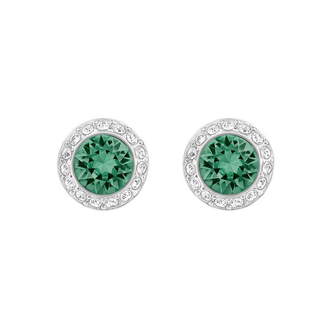 Swarovski Crystal Emerald ANGELIC Pierced Earring, Rhodium Plated -5267105