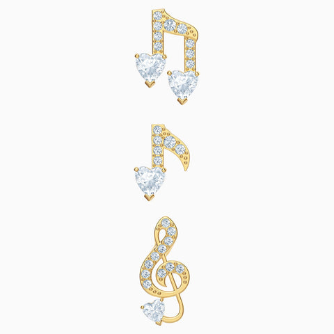 Swarovski PLEASANT PIERCED EARRINGS SET, Music Notes, Gold Tone -5491659