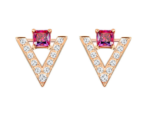 Swarovski White & Pink Crystal FUNK Pierced Stud Earrings Rose Gold #5249350