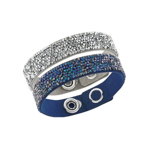 Swarovski Blue & Silver Crystal Set of 2 Bracelets CRYSTAL ROCK 17cm #5089700