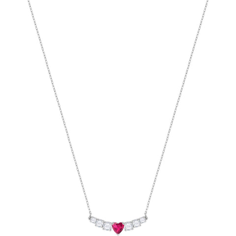 Swarovski LOVE Necklace, White, Pink, Rhodium - 5408434