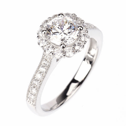 1ct Round Cut Engagement Wedding Ring Signity CZ Rhodium Sterling Silver