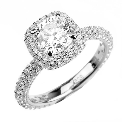 1.35ct Cushion Cut Solitaire w/Accent Engagement Ring Rhodium over Silver w/CZ
