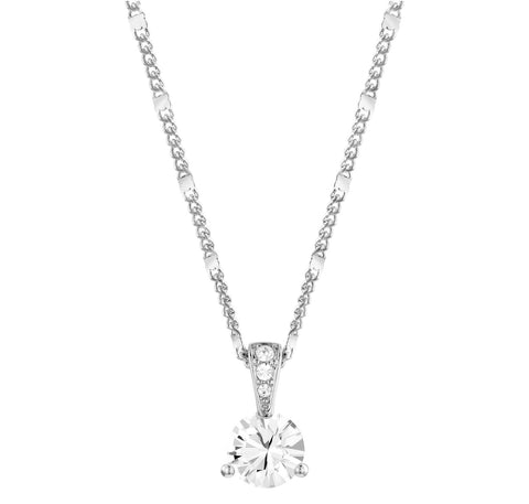 Swarovski Clear Crystal SOLITAIRE BAIL Pendant Necklace, Rhodium -1800045