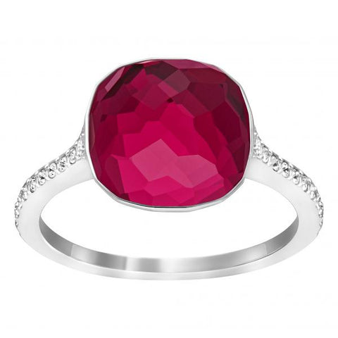 Swarovski Ruby & Clear Crystal DOT PAVE Ring Rhodium Plated