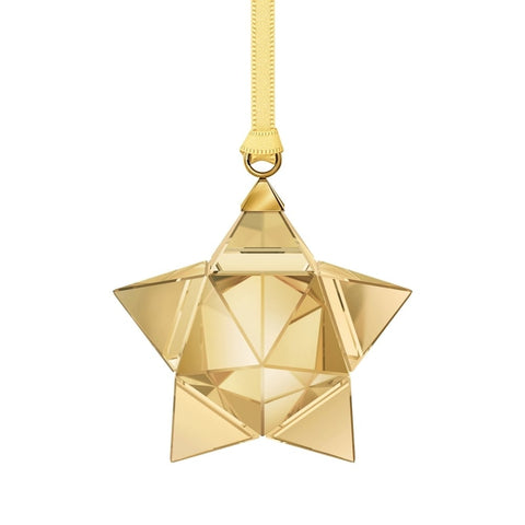 Swarovski Crystal Christmas STAR ORNAMENT, Small, Gold Tone -5223596