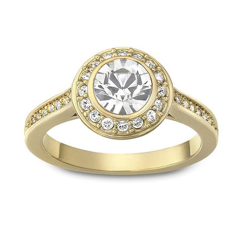 Swarovski Crystal Round Solitaire Ring ANGELIC Gold Plated