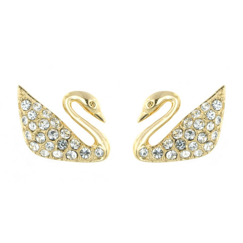 Swarovski Crystal JEWELRY Pierced Earrings SWAN, Gold -5083132