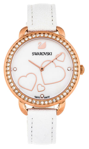 Swarovski WATCH AILA DAY HEART 37mm, White Leather, Rose Gold -5242514