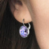Swarovski Tanzanite Moonlight Crystal BELLA Pierced Drop Earrings Rhodium #5030703