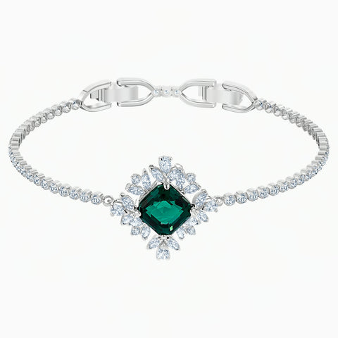 Swarovski PALACE BRACELET, Green, Rhodium Plated, M -5498835