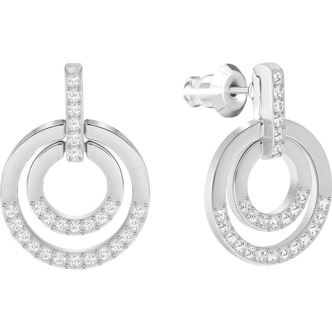 Swarovski Clear Crystal Pierced Mini Hoop Earrings CIRCLE, Rhodium -5349203