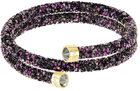 Swarovski CrystalDust Double Bangle Bracelet, Multi-Colored Gold, Medium-5379278