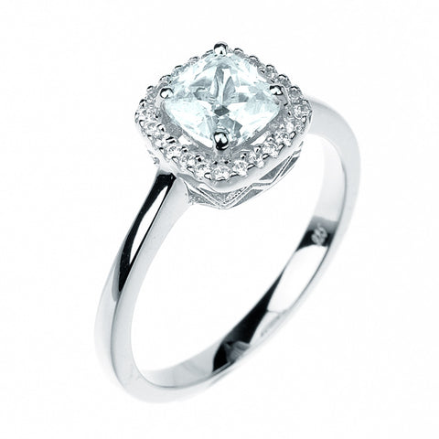 1ct Cushion Cut Solitaire w/Accent Engagement Ring Rhodium over Silver w/CZ