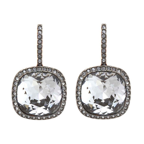 Swarovski Grey Crystal JEWELRY Pierced Earrings LATTITUDE Rose Gold -5375066