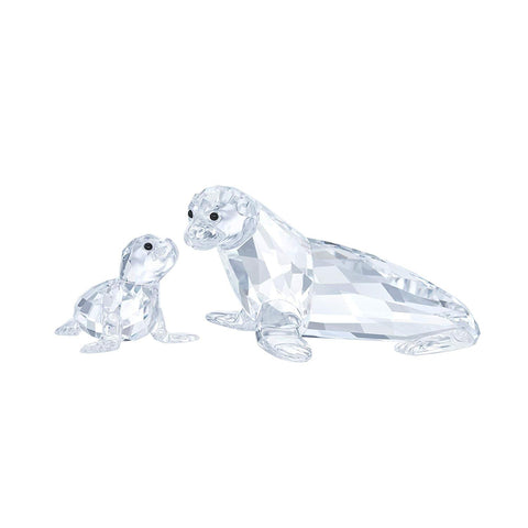 Swarovski Set of 2 Figurines SEA LION MOTHER WITH BABY - 5275796