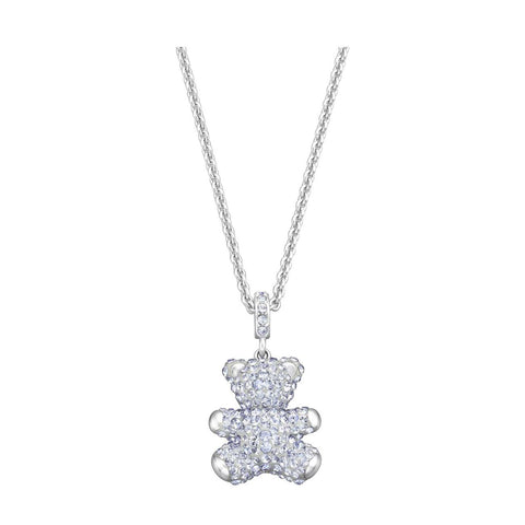 Swarovski Teddy 3D Pendant Bear Necklace, Light Blue, Rhodium - 5349759