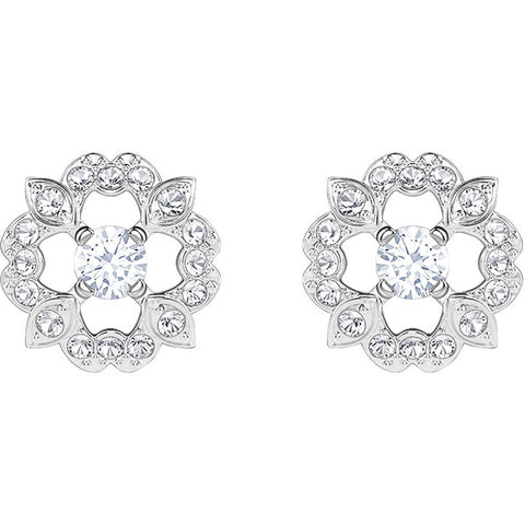 Swarovski SPARKLING DANCE FLOWER PIERCED EARRINGS, White, Rhodium -5396227