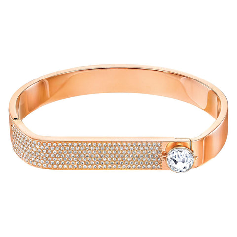Swarovski Bangle Bracelet FORWARD Rose Gold Plated, Clear Crystal, Medium - 5233964