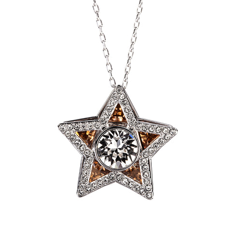 Swarovski Golden Shadow & Clear Crystal Jewelry STAR Pendant CARRISSA Necklace Rhodium #5133085