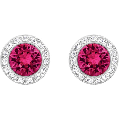 Swarovski Red Crystal ANGELIC Pierced Earring, Rhodium -5446022