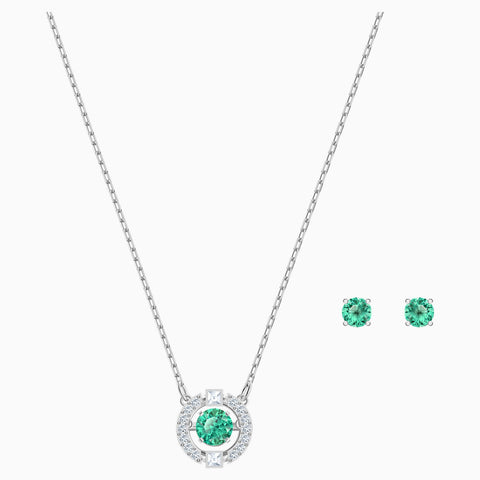 Swarovski Jewelry SPARKLING DANCE SET, Green, Rhodium -5516965