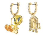 Swarovski LOONEY TUNES TWEETY HOOP PIERCED EARRINGS, Gold Tone -5487637