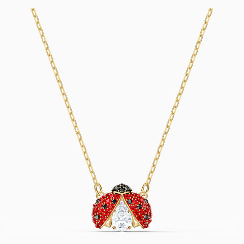 Swarovski SPARKLING DANCE LADYBUG NECKLACE, Red, Gold Tone -5521787