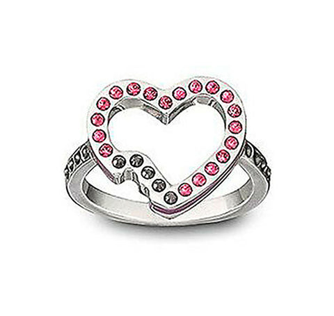 Swarovski HELLO Ring Pink Heart Shape