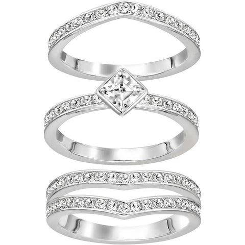 Swarovski Clear Crystal ALPHA Set of 3 Ring, Rhodium