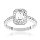 Swarovski Clear Crystal Engagement Ring Rectangular Solitaire ATTRACT LIGHT