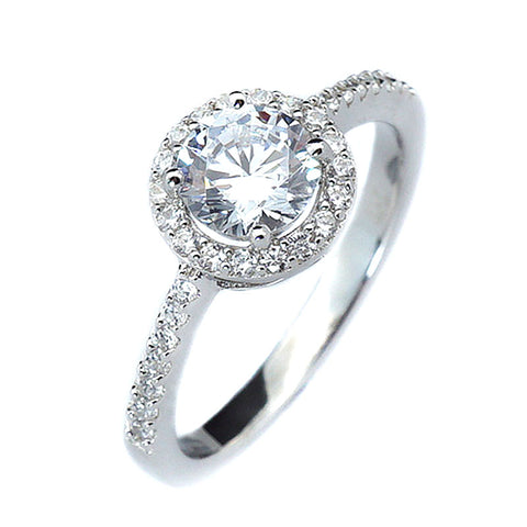 1ct Round Cut Solitaire w/Accent Engagement Ring Rhodium over Silver w/CZ