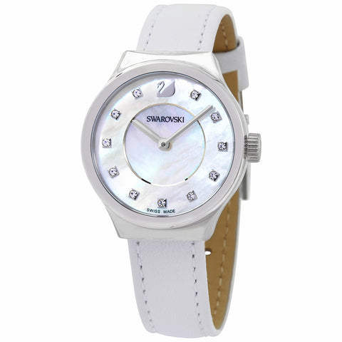 Swarovski DREAMY QUARTZ Crystal WATCH, White Leather, Mother of Pearl -5199946