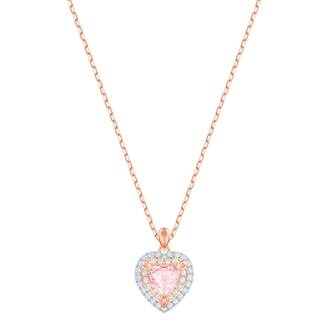 Swarovski Jewelry ONE HEART PENDANT Necklace, Rose Gold -5439314