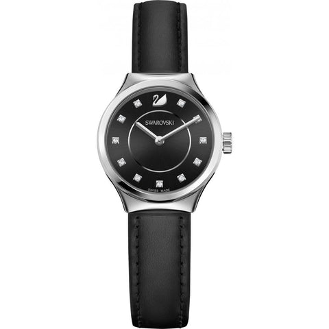 Swarovski DREAMY QUARTZ Crystal WATCH, Black Leather -5199931