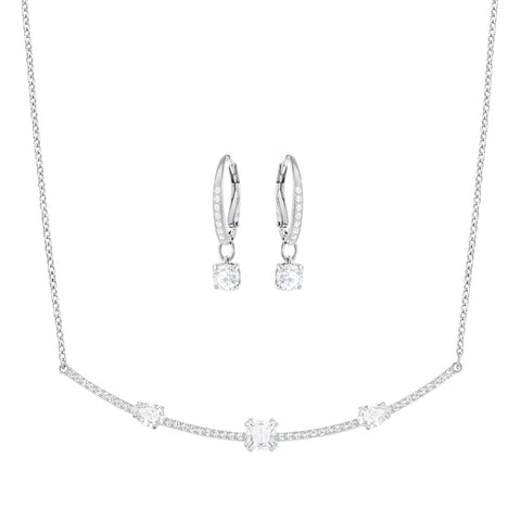 Swarovski Jewelry Set, Necklace & Earrings, GRAY SET, White -5291056