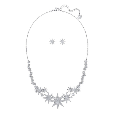 Swarovski Jewelry Set Necklace & Earrings FIZZY, Rhodium Plated -5253053