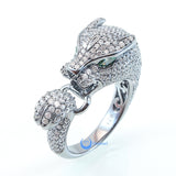 Panther Ring Leopard Animal Green Eyes Fashion Ring  Signity CZ Rhodium Sterling Silver