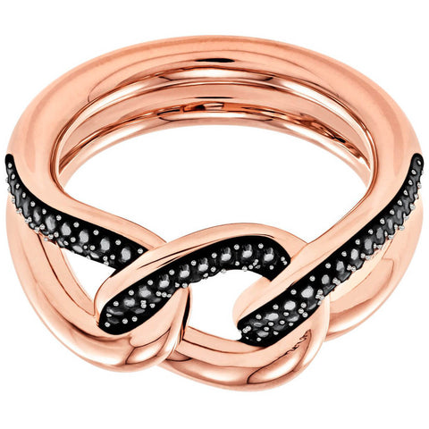 Swarovski Black Crystals LANE MOTIF RING, Rose Gold (Medium/55/7)