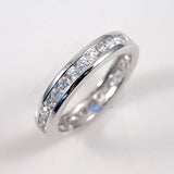 Eternity Wedding Band 3mm Women's Ring Channel Set CZ Sterling Silver