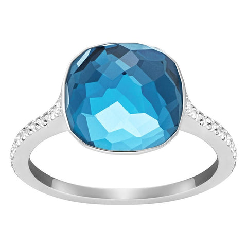 Swarovski Blue Montana Crystal DOT PAVE Ring Rhodium Plated